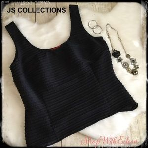 JS COLLECTIONS Black Bandage Style Fitted Tank Top